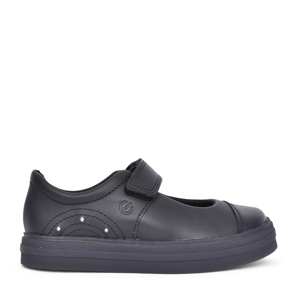 GIRLS FLARE SHINE BLACK LEATHER SHOE in KIDS F FIT