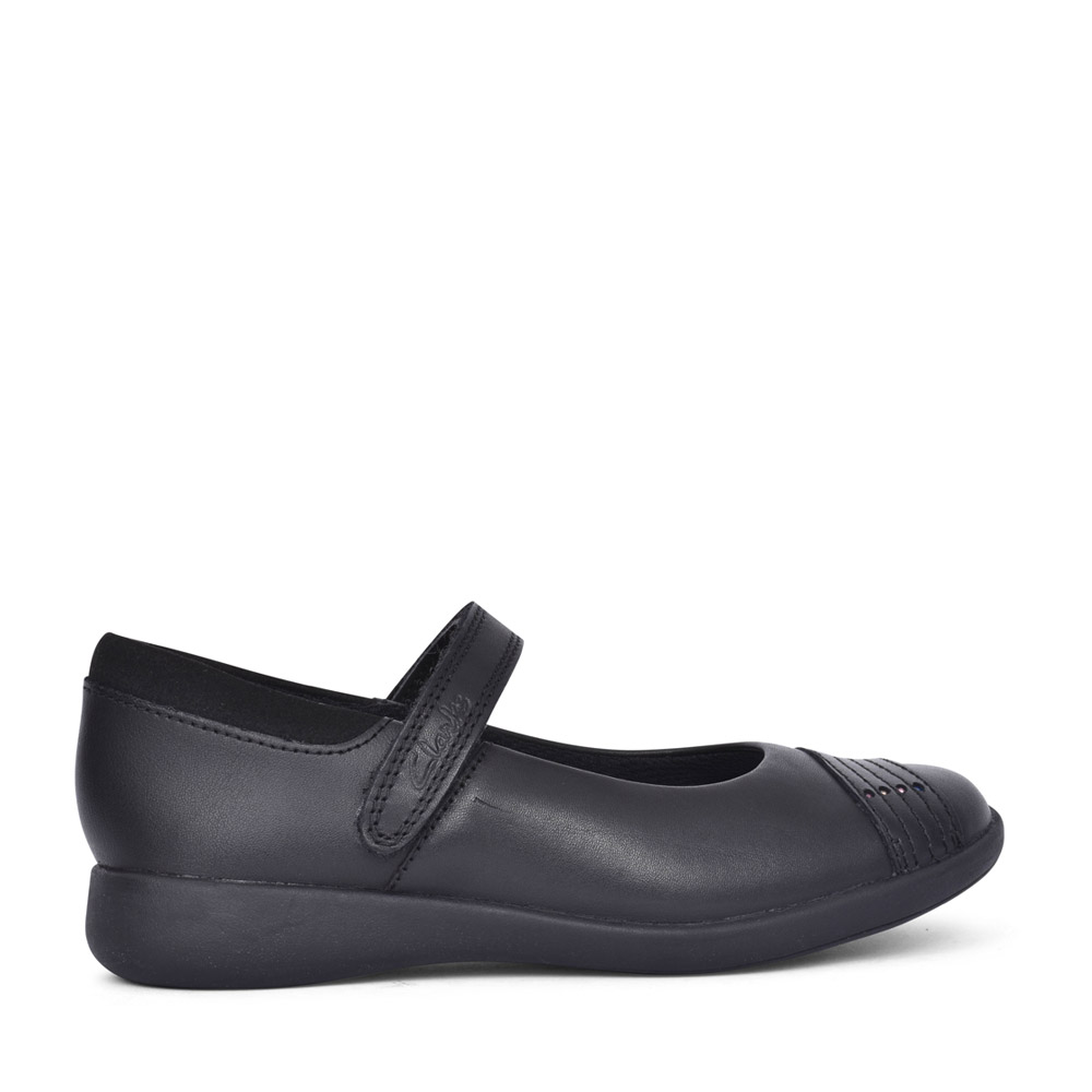 GIRLS ETCH BEAM BLACK LEATHER SHOE in KIDS G FIT