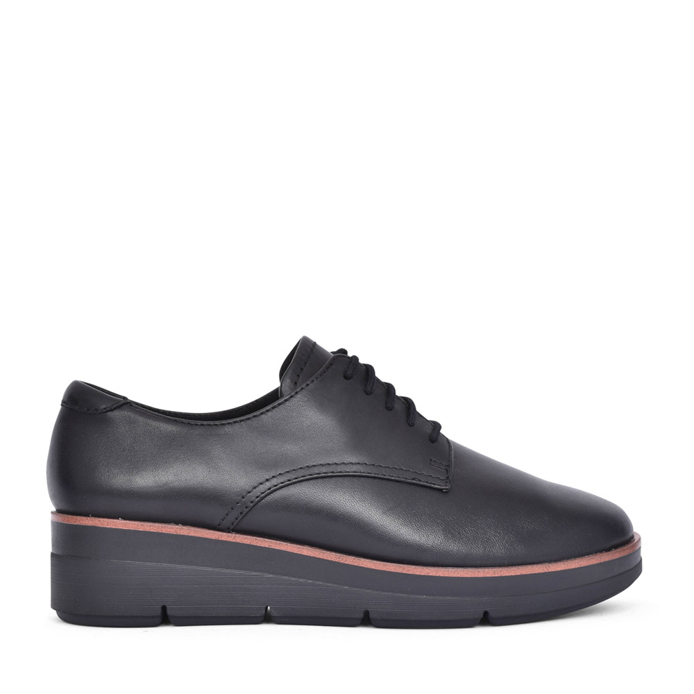 LADIES SHAYLIN LACE LEATHER E FIT SHOE in BLK LEATHER