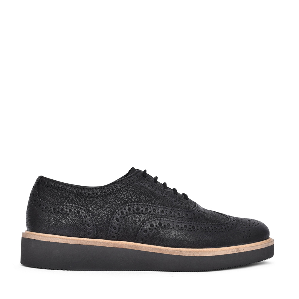 LADIES BAILLE BROGUE LEATHER D-FIT SHOE in BLK LEATHER