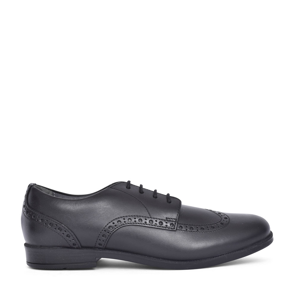 GIRLS BROGUE SNR BLACK LEATHER BROGUE SHOE in KIDS E FIT