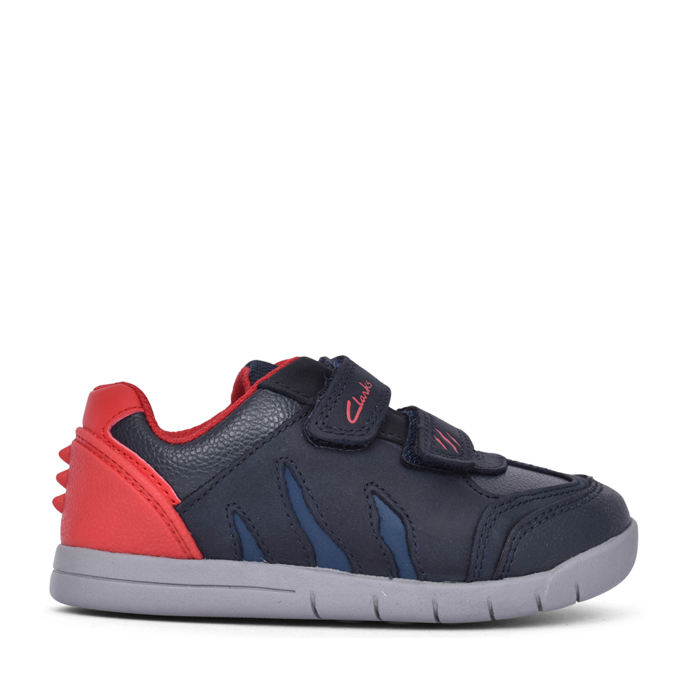 BOYS REX PLAY NAVY/RED LEATHER SHOE in KIDS F FIT