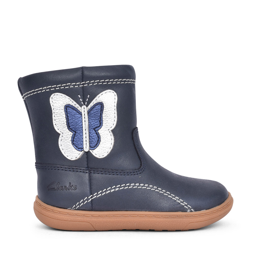GIRLS TODDLER FLASH MIDI NAVY LEATHER BOOT in KIDS F FIT
