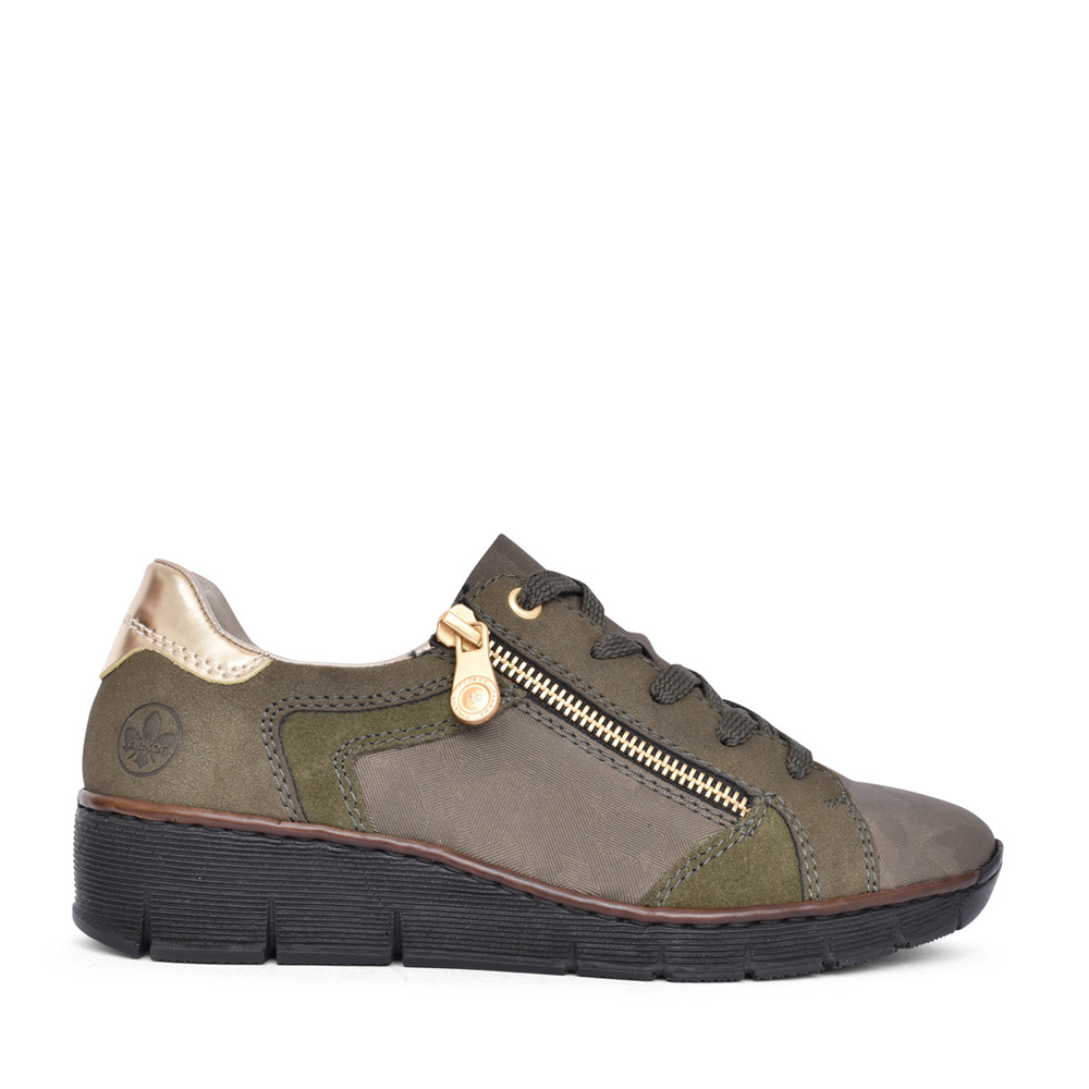 LADIES 53703 LACED WEDGE SHOE in OLIVE