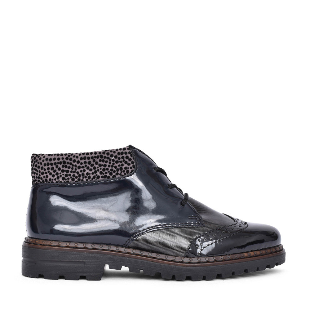 LADIES 54839 LACED ANKLE BOOT in BLK PATENT