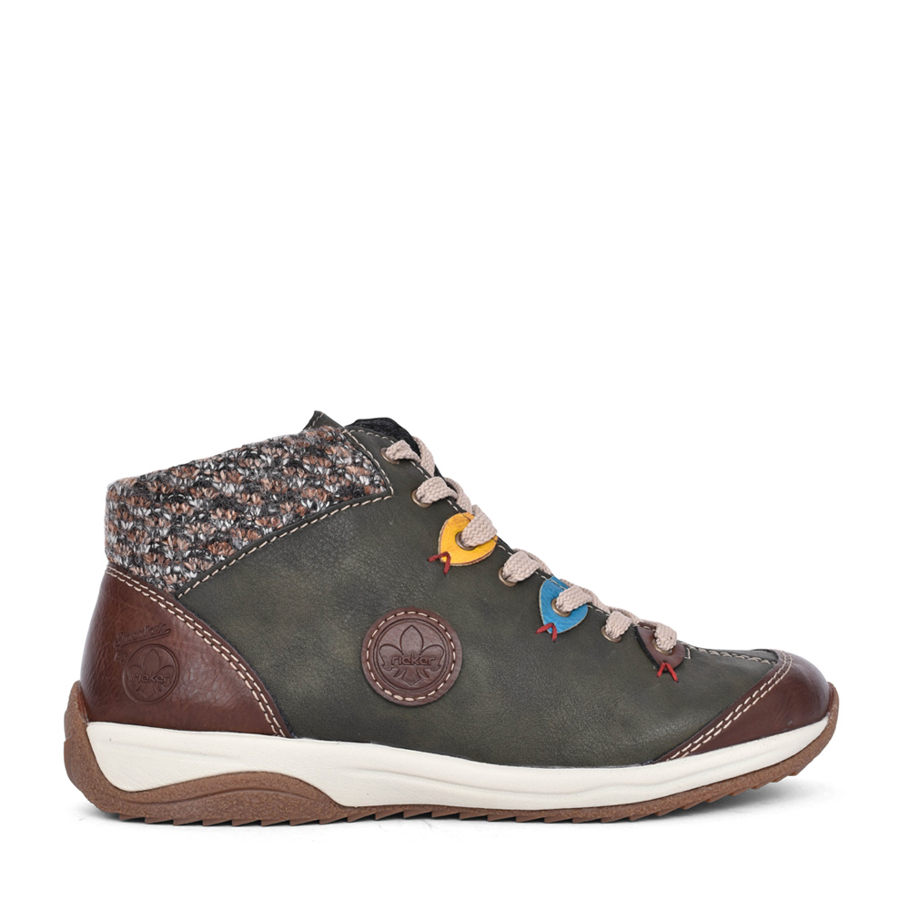 LADIES L5222 LACED ANKLE BOOT in OLIVE