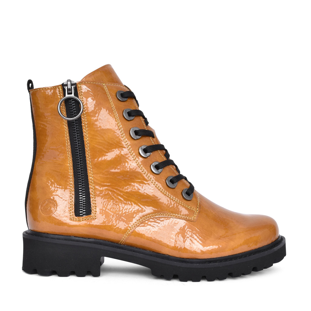 LADIES D8671 LACED ANKLE BOOT in YELLOW