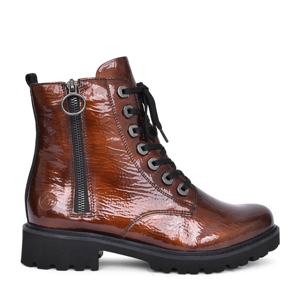 LADIES D8671 LACED ANKLE BOOT in BRONZE