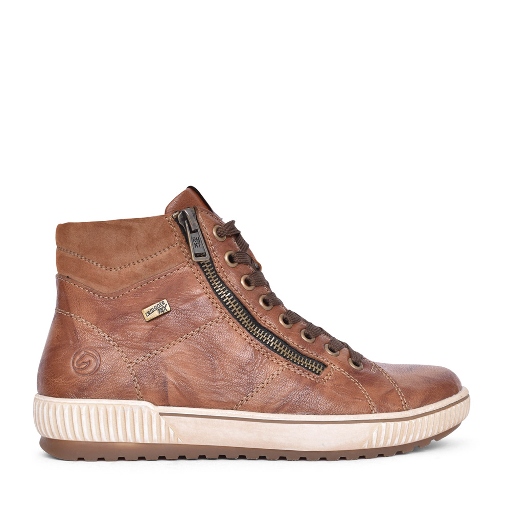 LADIES D0772 TEX LACED ANKLE BOOT in TAN
