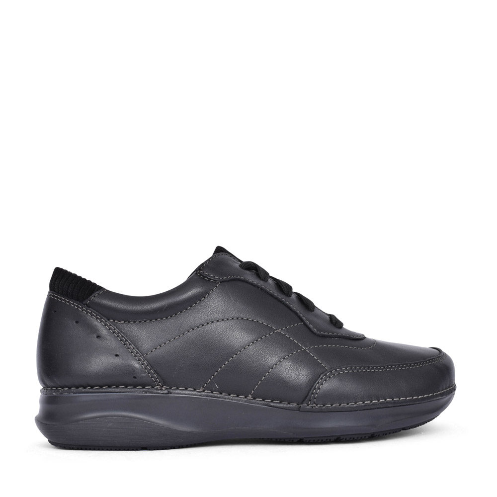 LADIES APPLEY TIE LEATHER D-FIT LACED SHOE in BLK LEATHER
