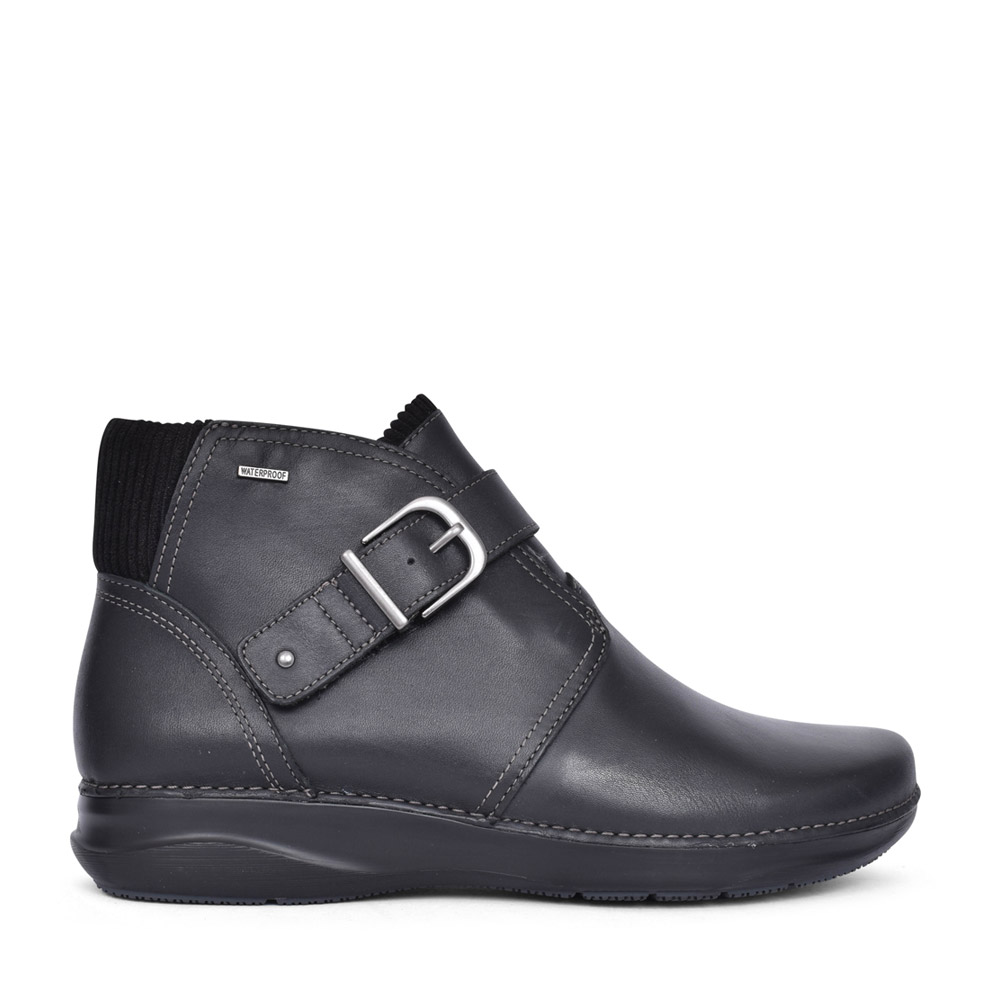 LADIES APPLEY MID LEATHER D FIT ANKLE BOOT in BLK LEATHER