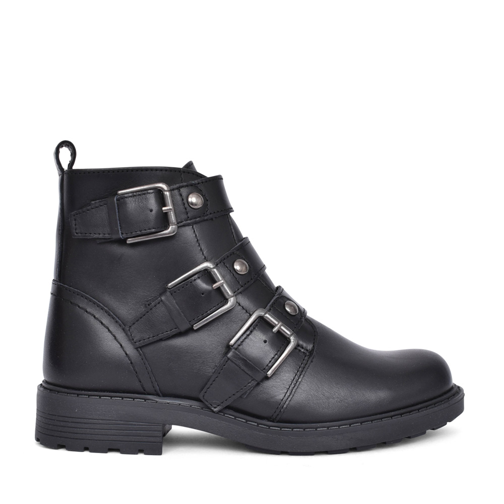LADIES ORINOCO2 STUD LEATHER D-FIT ANKLE BOOT in BLK LEATHER