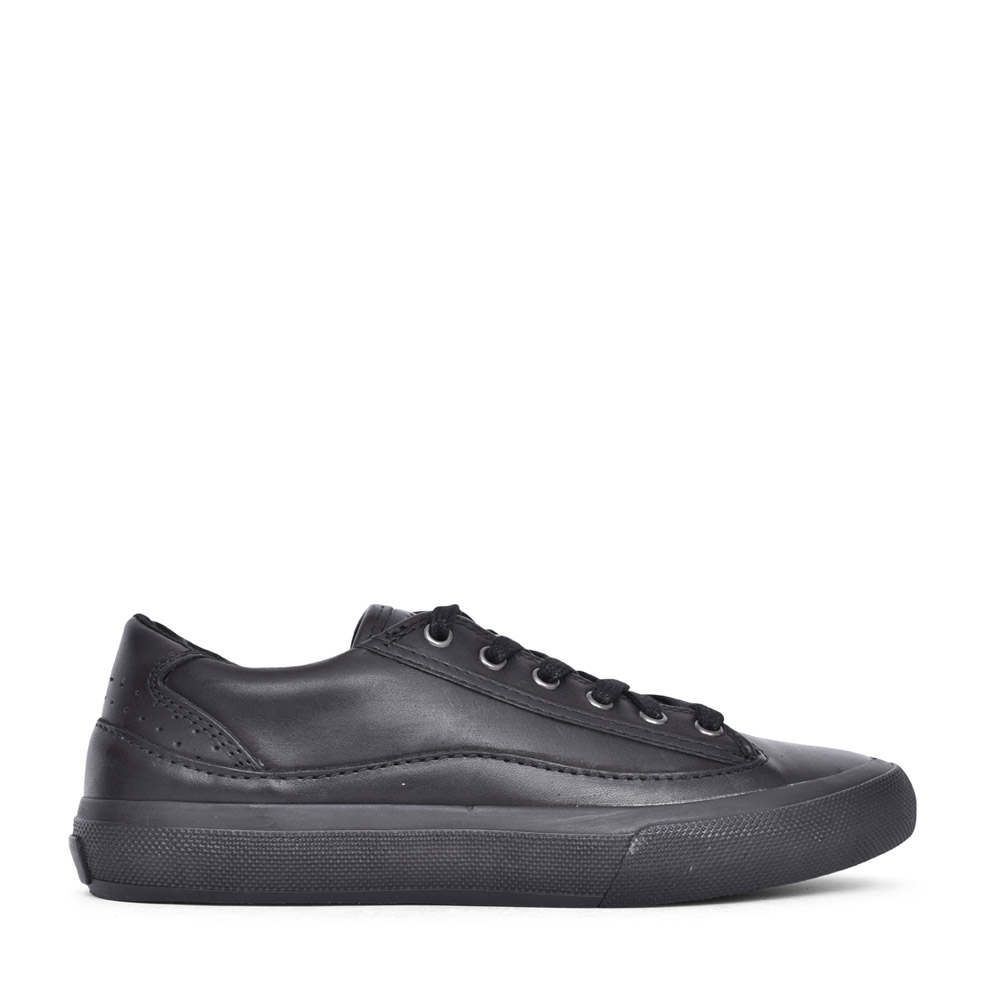 LADIES ACELEY LACE LEATHER D FIT LACED TRAINER in BLK LEATHER
