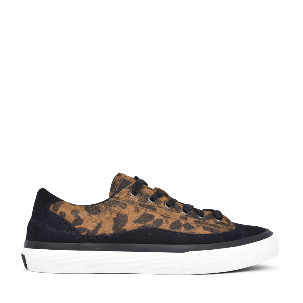 LADIES SUEDE D FIT LACED TRAINER in LEOPARD