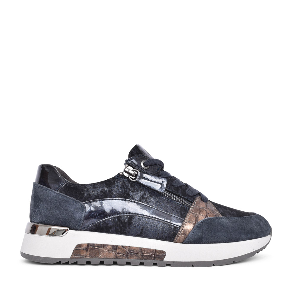 LADIES 8-23710 LACED TRAINER in NAVY