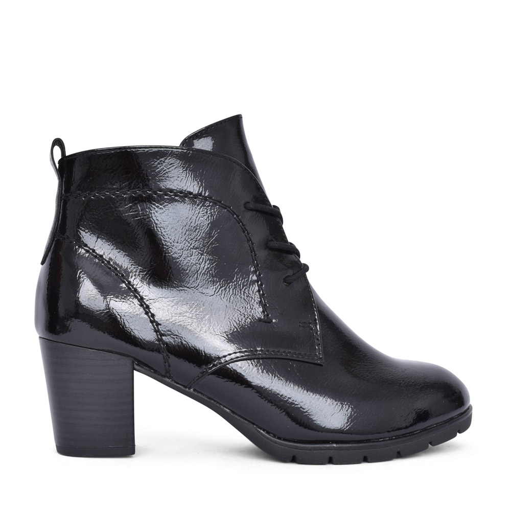 LADIES 2-25109 LACED ANKLE BOOT in BLK PATENT