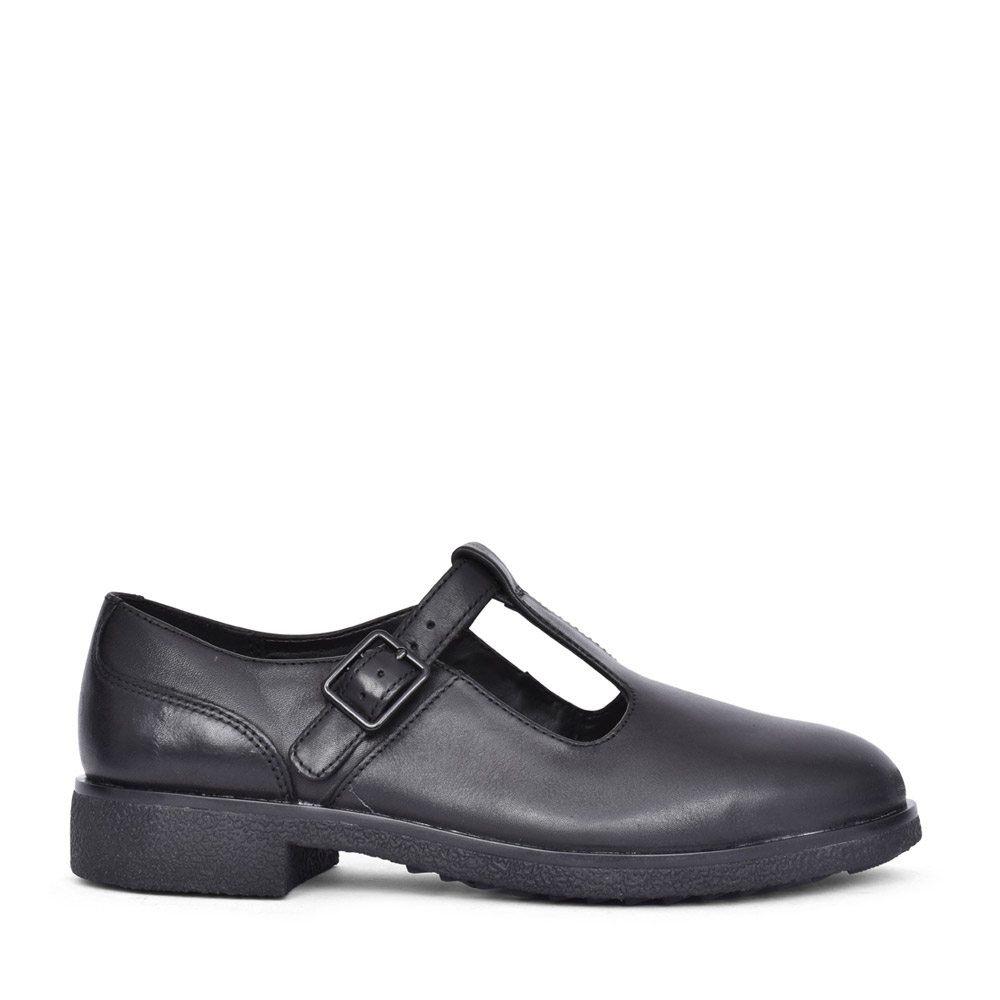 LADIES GRIFFIN TOWN LEATHER E-FIT T-BAR SHOE in BLK LEATHER