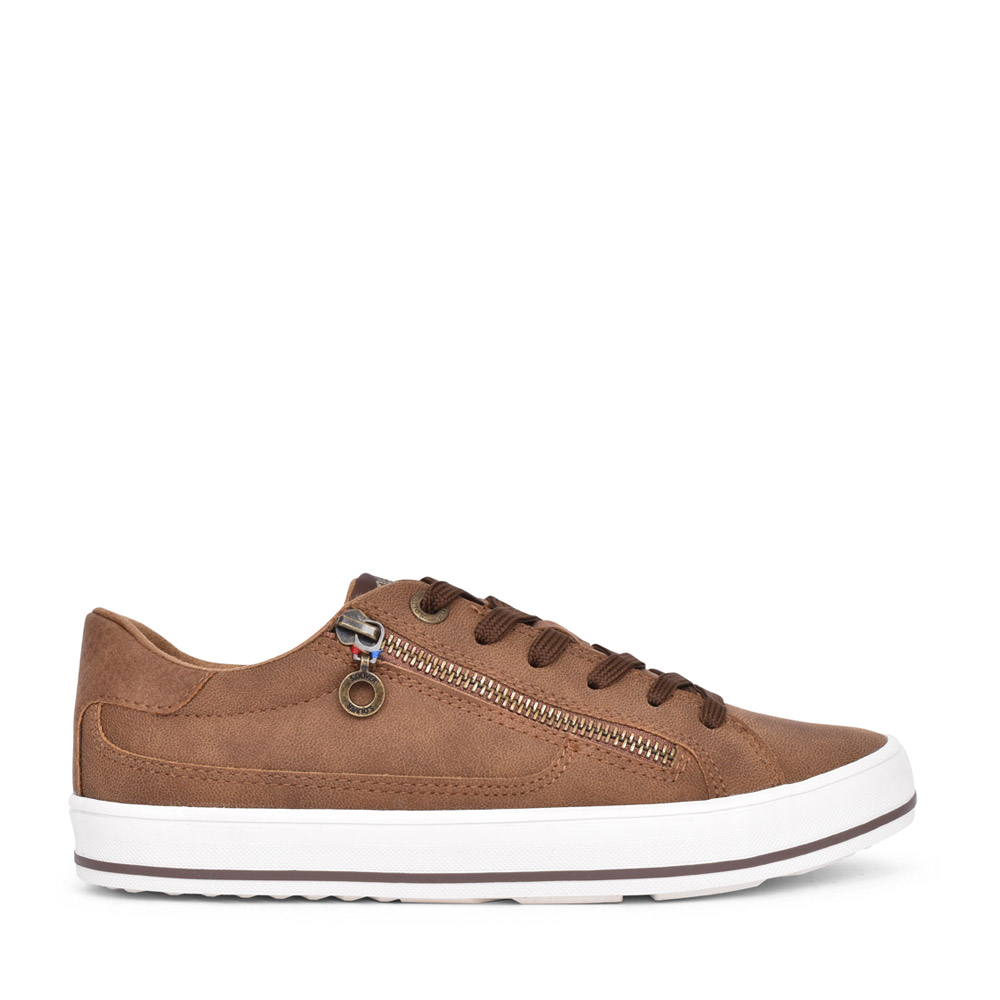 LADIES 5-23615 LACED TRAINER in BROWN