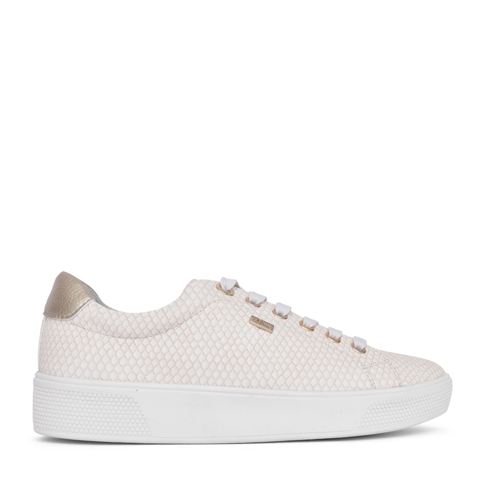 LADIES 5-23613 LACED TRAINER in WHITE