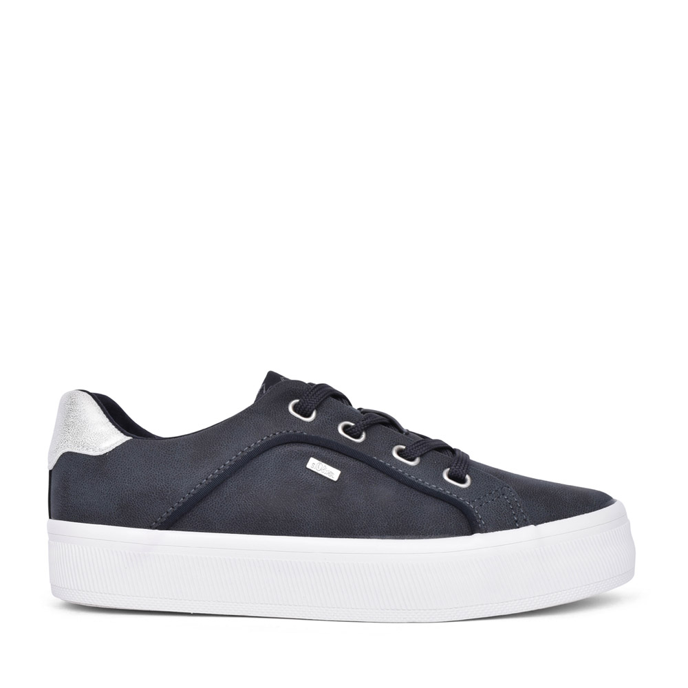LADIES 5-23614 LACED TRAINER in NAVY