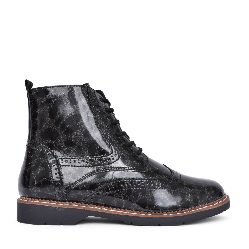 LADIES 5-25465 LACED ANKLE BOOT in BLACK