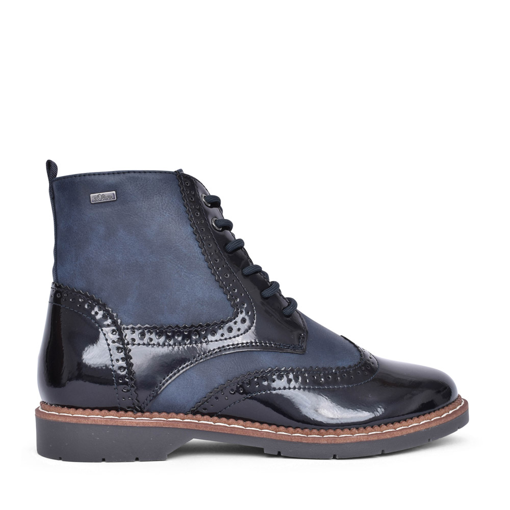 LADIES 5-25465 LACED ANKLE BOOT in NAVY