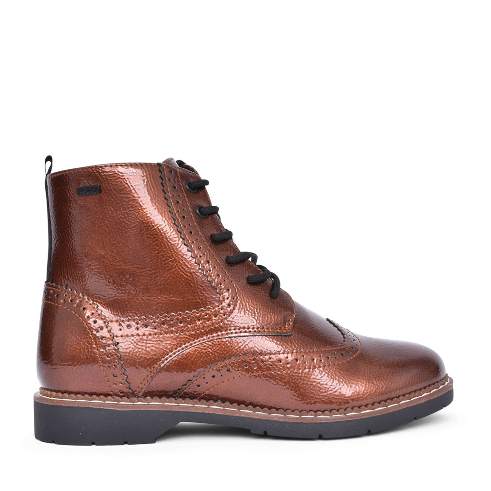 LADIES 5-25465 LACED ANKLE BOOT in COPPER