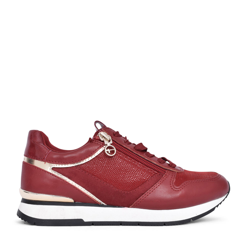 LADIES 1-23603 LACED TRAINER in LIPSTICK RED
