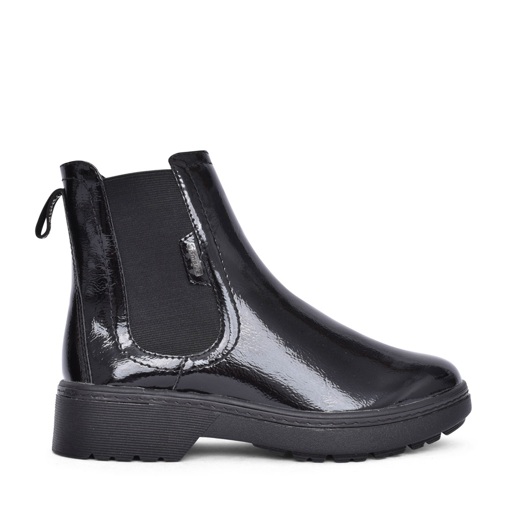 LADIES 1-25463 ANKLE BOOT in BLK PATENT