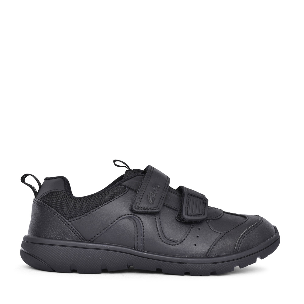 BOYS SCOOTER RUN BLACK LEATHER SHOE in KIDS F FIT