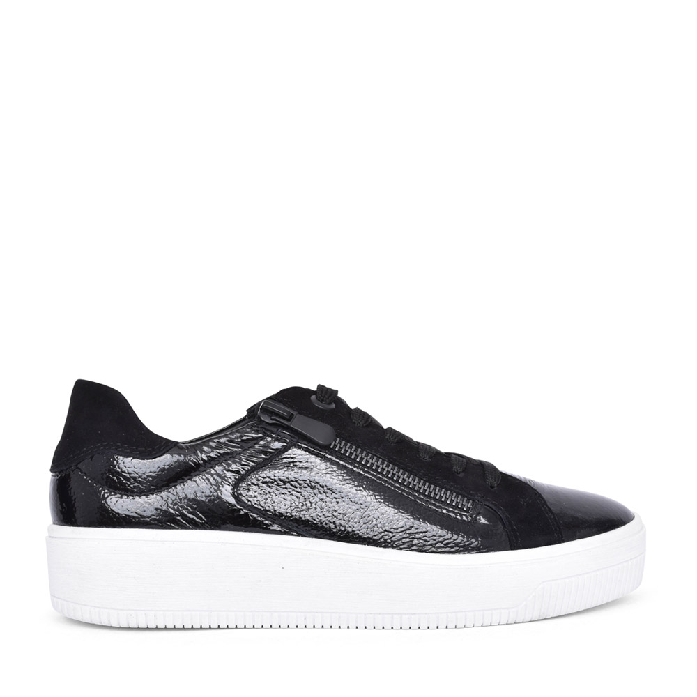 LADIES 2-23728 LACED TRAINER in BLK PATENT