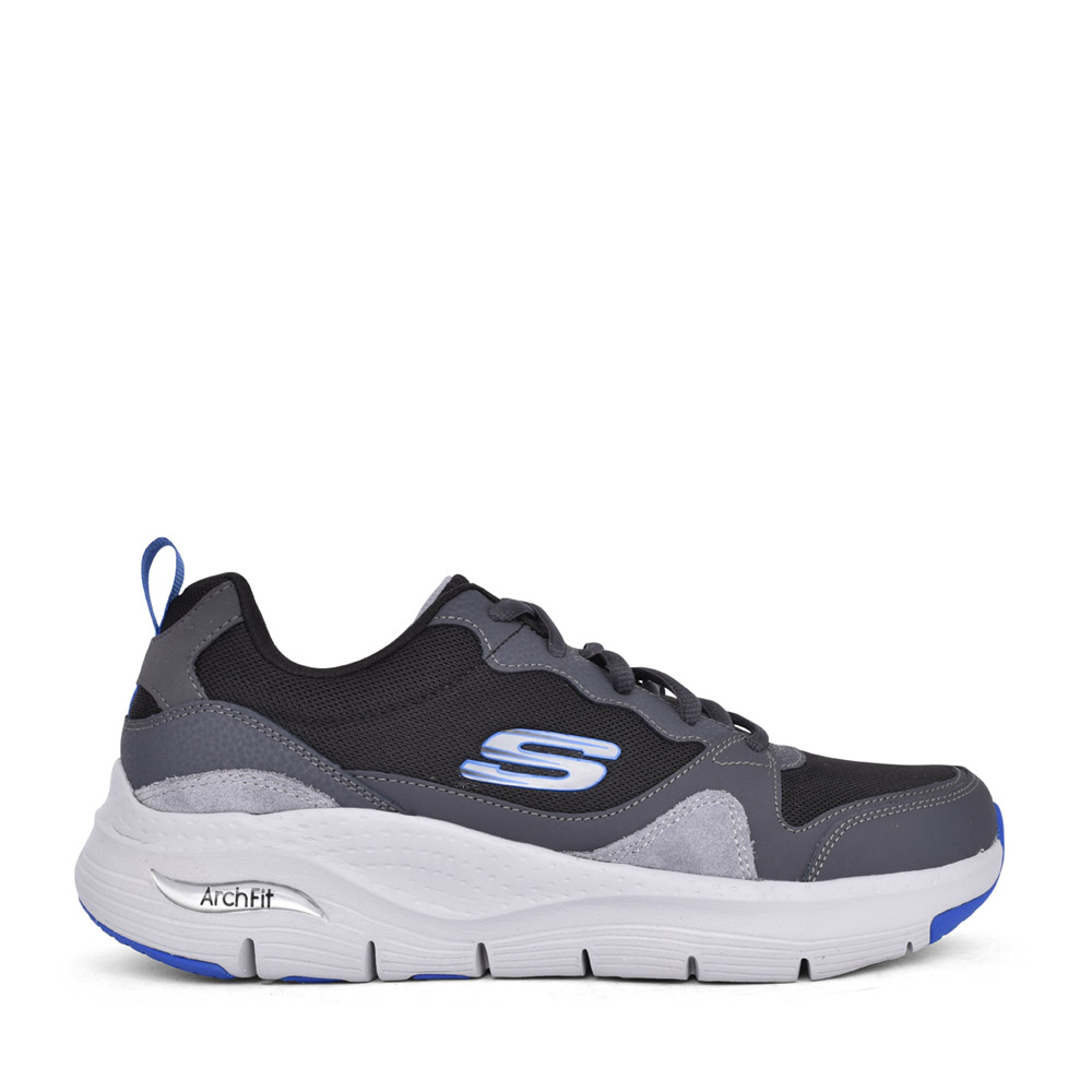 MENS 232204 ARCH FIT LACED TRAINER in BLACK