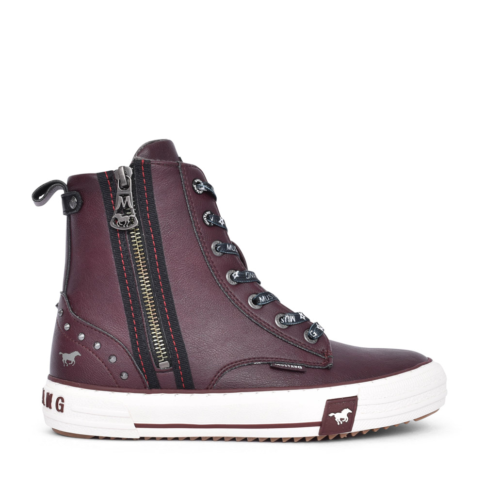 LADIES 1410502 LACED ANKLE BOOT in BURGANDY