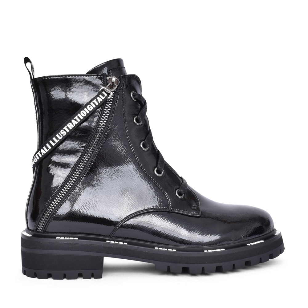 LADIES 8058502 ANKLE BOOT in BLK PATENT