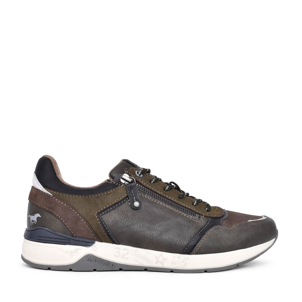 MENS 4164303 LACED TRAINER in KHAKI