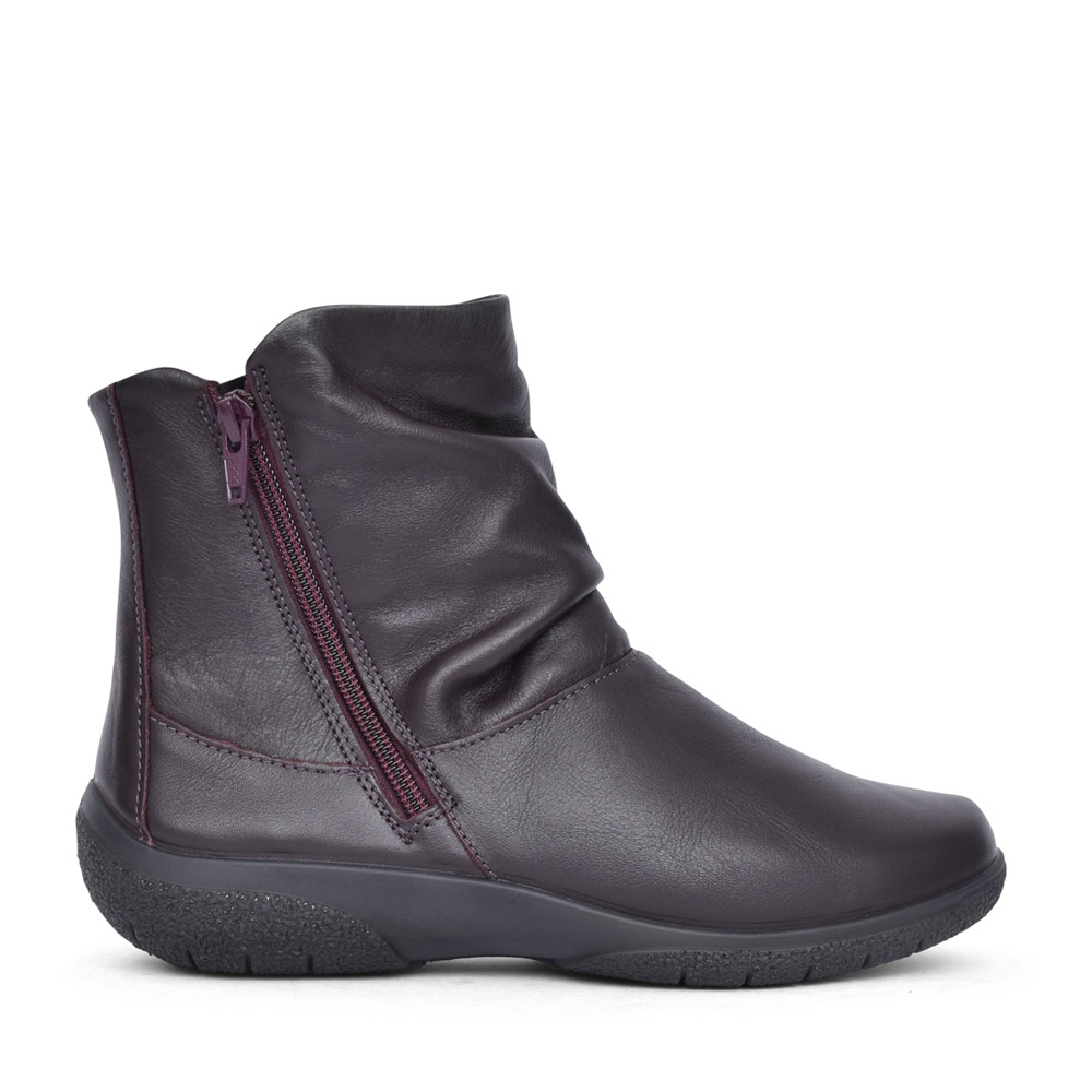 LADIES WIDE FIT WHISPER LEATHER ANKLE BOOT in PLUM