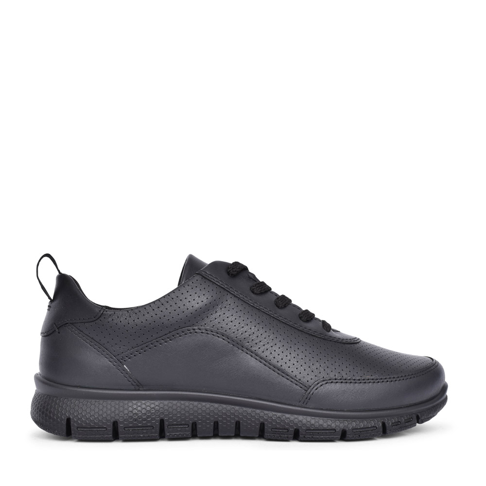 LADIES GRAVITY II STD FIT LEATHER LACED TRAINER in BLACK