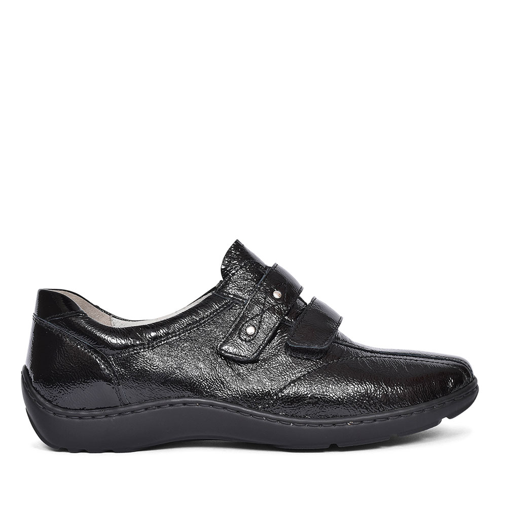 LADIES 496301 HENNI H-FIT VELCRO SHOES in BLK PATENT