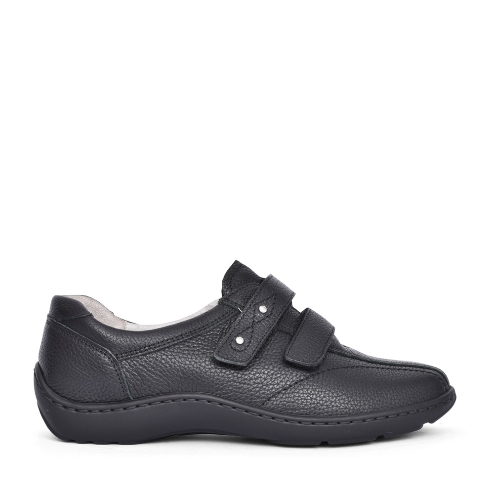 LADIES 496301 HENNI H-FIT VELCRO SHOES in BLK LEATHER