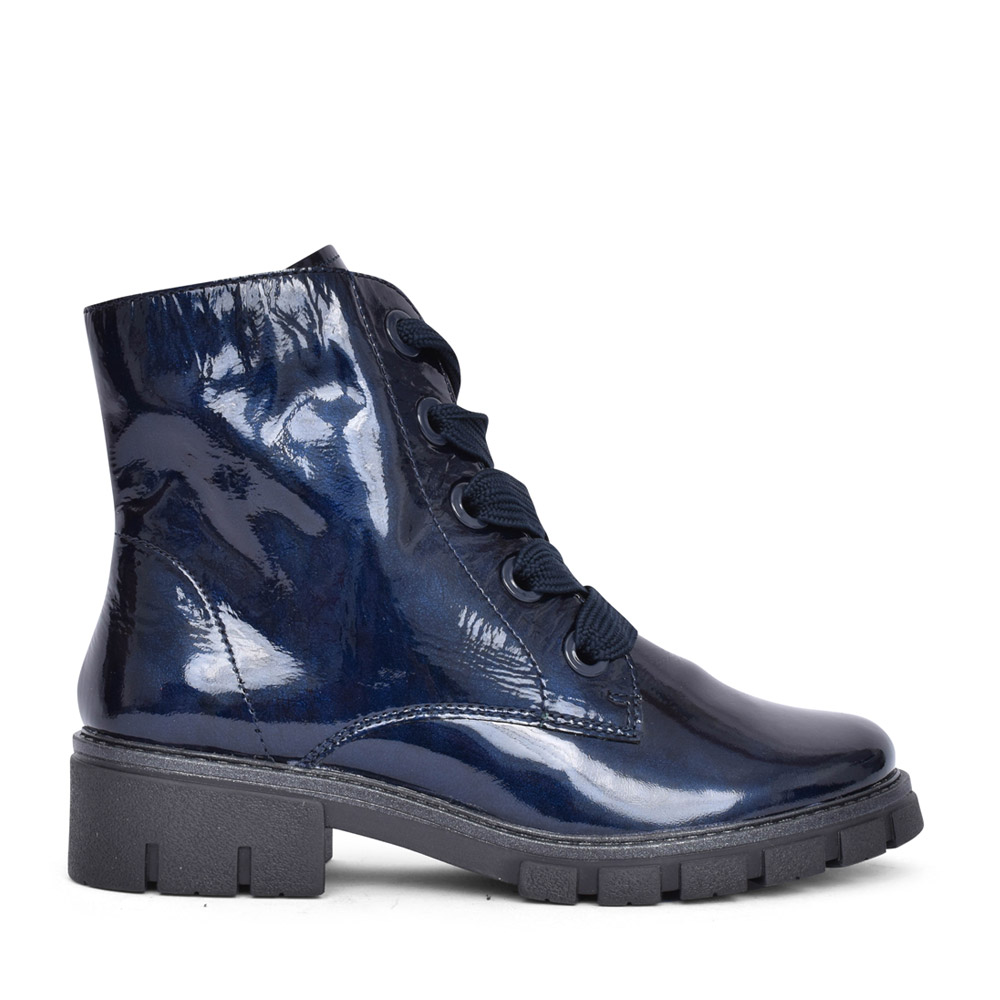 LADIES 12-23126 DOVER LACED ANKLE BOOT in NAVY PATENT