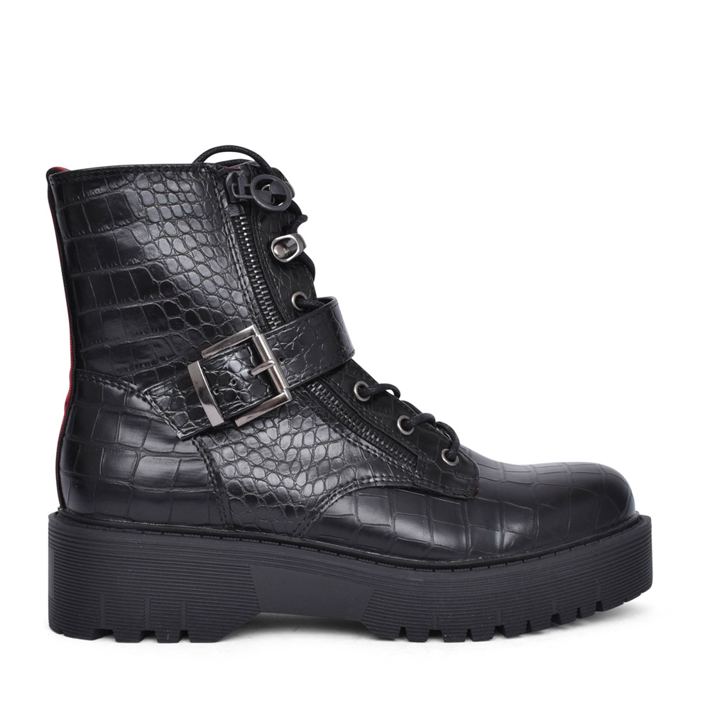 LADIES 536121 LACED ANKLE BOOT in BLACK INTERE