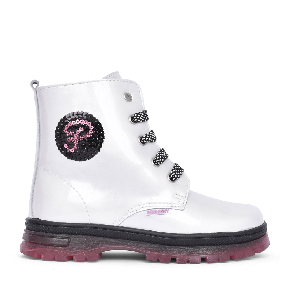 GIRLS LACED ANKLE BOOT in WHITE