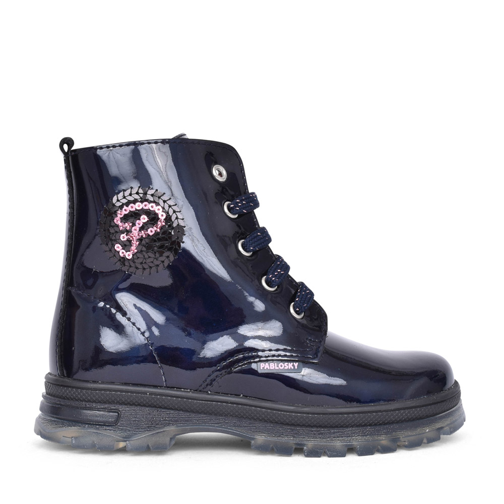 GIRLS LACED ANKLE BOOT in NAVY