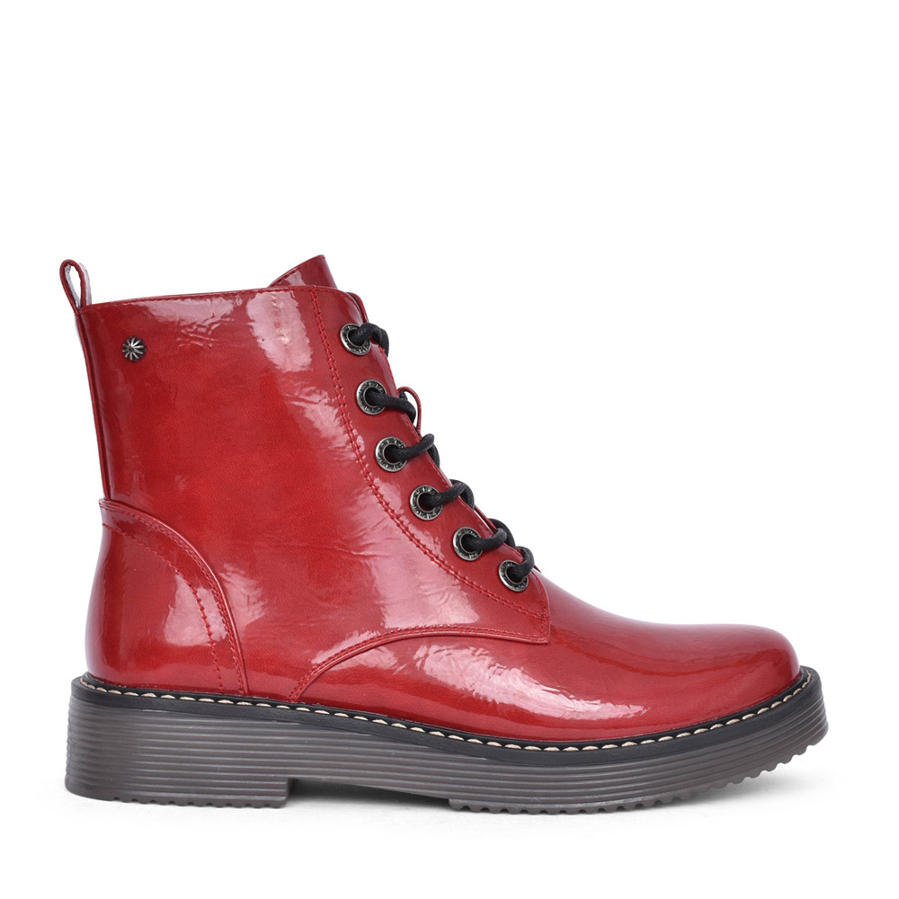 LADIES D2371 PATENT LACED BOOT in RED