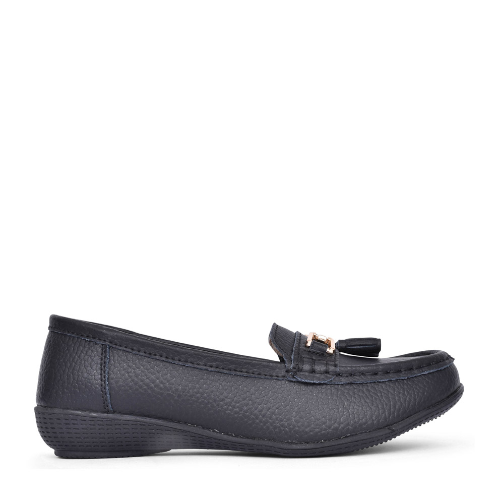 LADIES NAUTICAL LEATHER LOAFER in BLACK