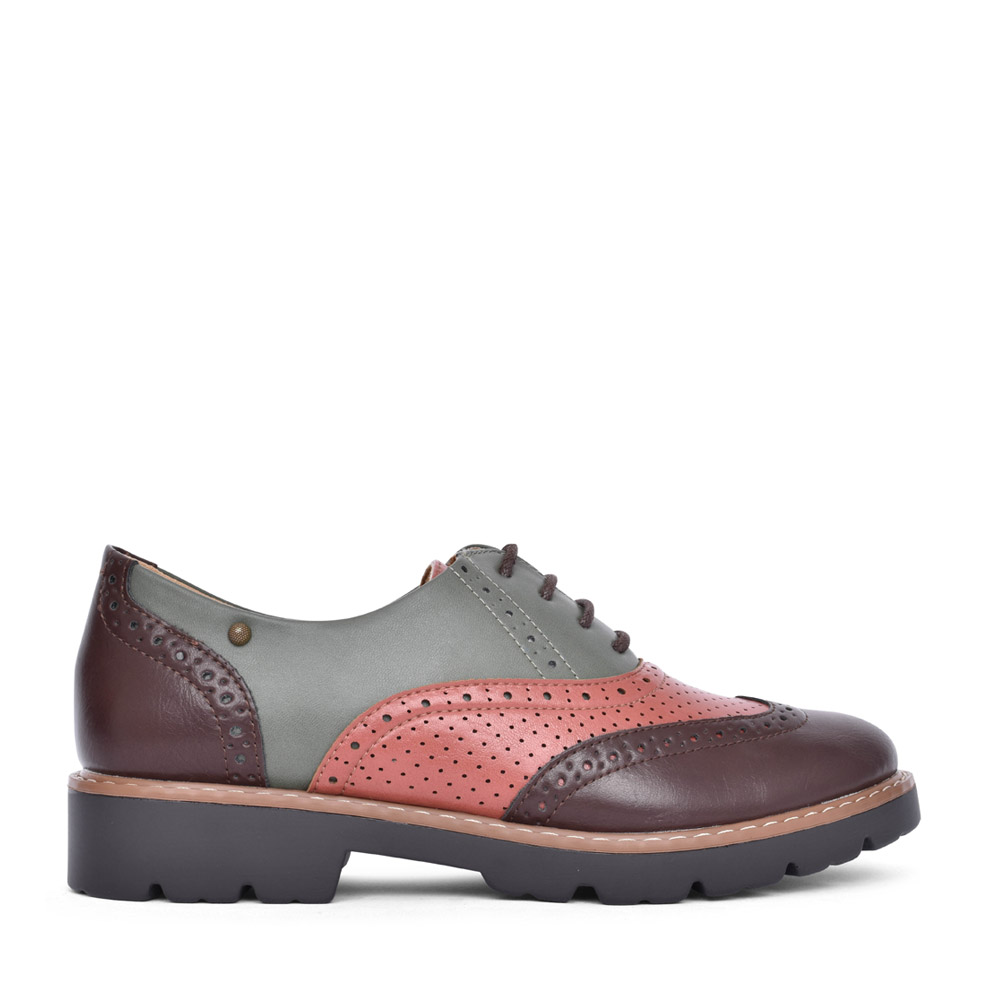 LADIES TAMPA BAY LACE UP BROGUE SHOE in BROWN
